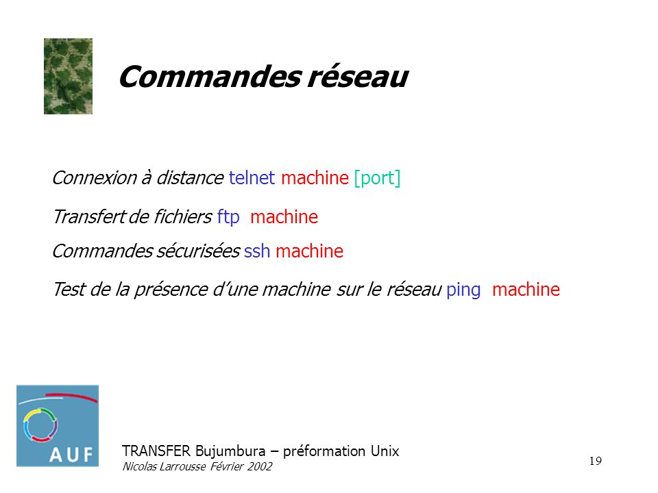 Commandes réseau Connexion à distance telnet machine [port]